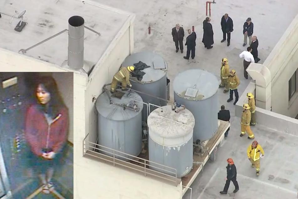 Nach dem grausigen Fund inspizieren Wartungstechniker und Feuerwehrleute die Wasserbehälter auf dem Hoteldach. Drei Wochen zuvor wurde Elisa noch von der Fahrstuhl-Kamera des Cecil Hotels aufgenommen.