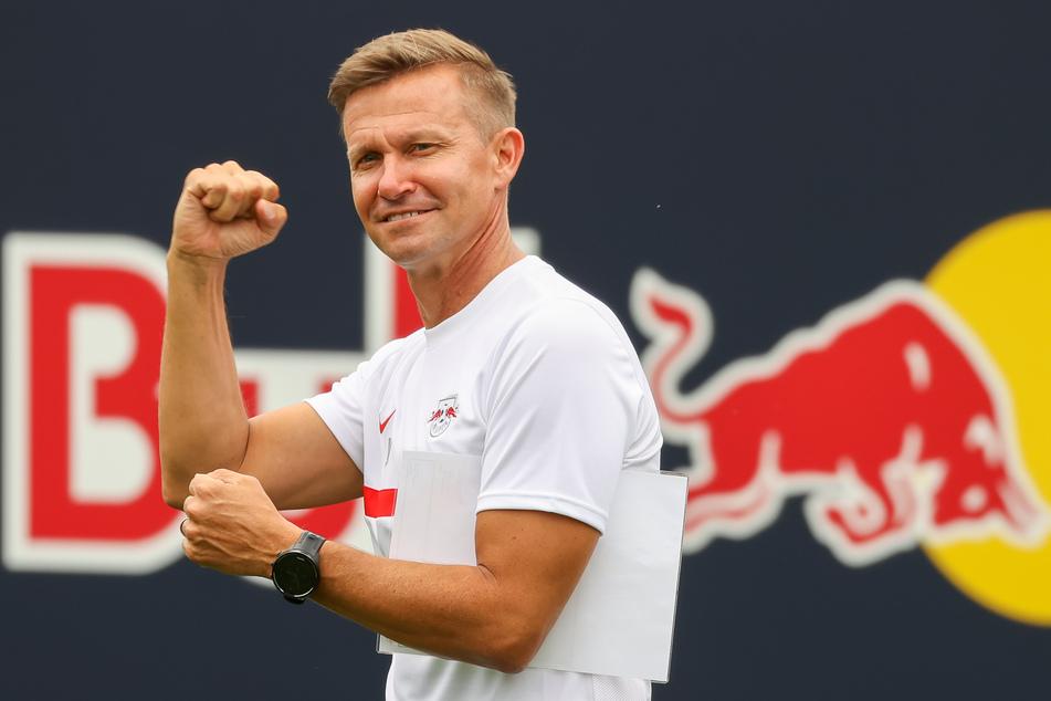 RB Leipzigs Trainer Jesse Marsch (47) freut sich auf die kommende Champions-League-Gruppenphase.