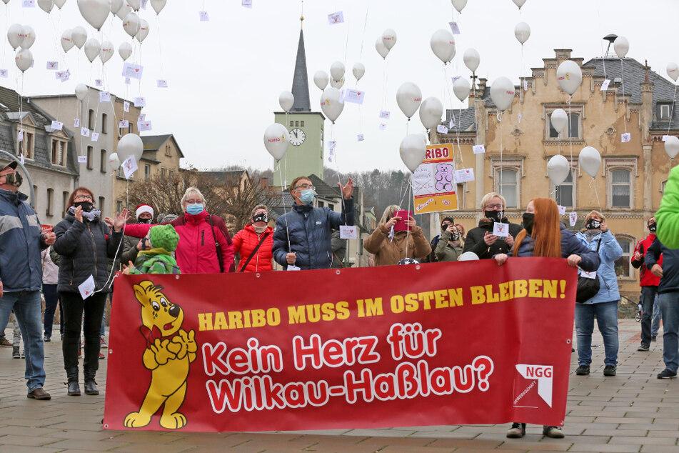 Dezember-Protest in Wilkau-Haßlau: Rund 100 Beschäftigte forderten den Erhalt des Wesa-Werks (zuletzt Haribo).