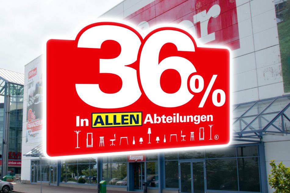 Ada 36 persen di semua departemen di Möbel Höffner Erfurt!