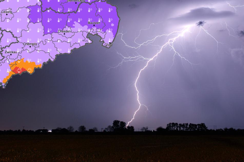 Warnung vor heftigen Gewittern in Sachsen