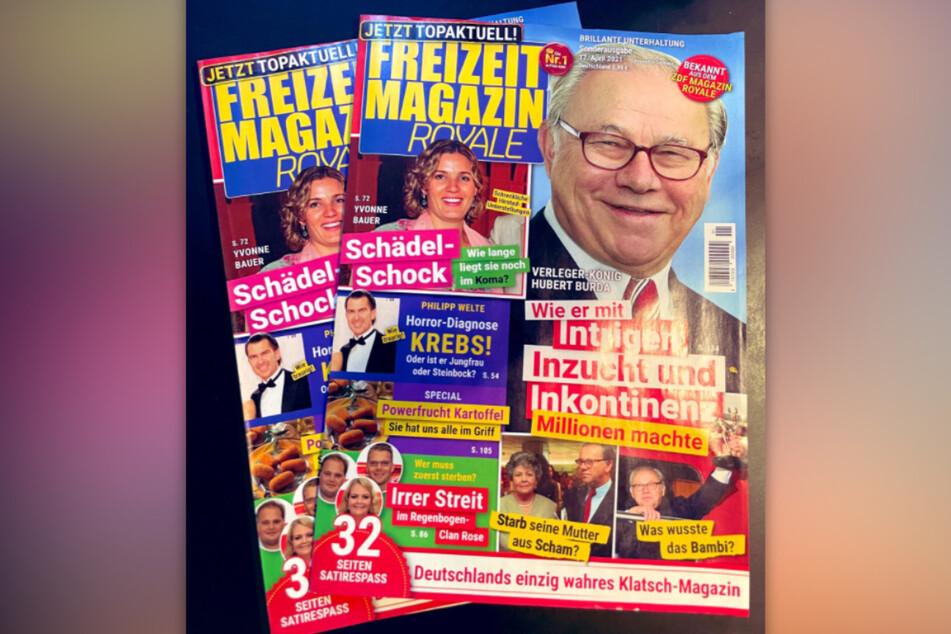 """Verleger Hubert Burda ist der Cover-Boy der allerersten """"Freizeit Magazin Royale""""-Ausgabe."""