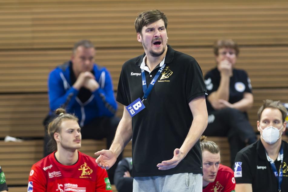 HCE-Coach Rico Göde (38) haderte an der Seitenlinie mit den miserablen Wurfleistungen seiner Jungs.