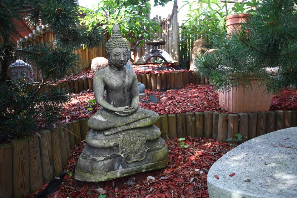Selbst ein Buddha darf im gepflegten Garten nicht fehlen, die Ha(a)rmonie soll schließlich stimmen.