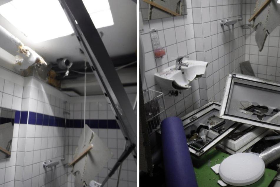 In den Sanitäranlagen wüteten die Täter besonders heftig.