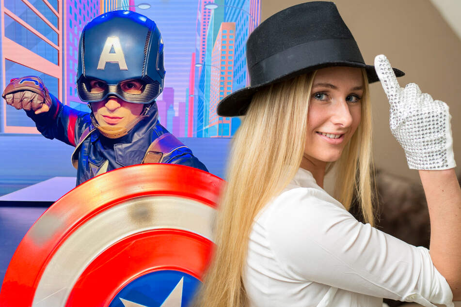 Show-Talent Lisa Ohrnberger (28) und Captain America (Bildmontage).