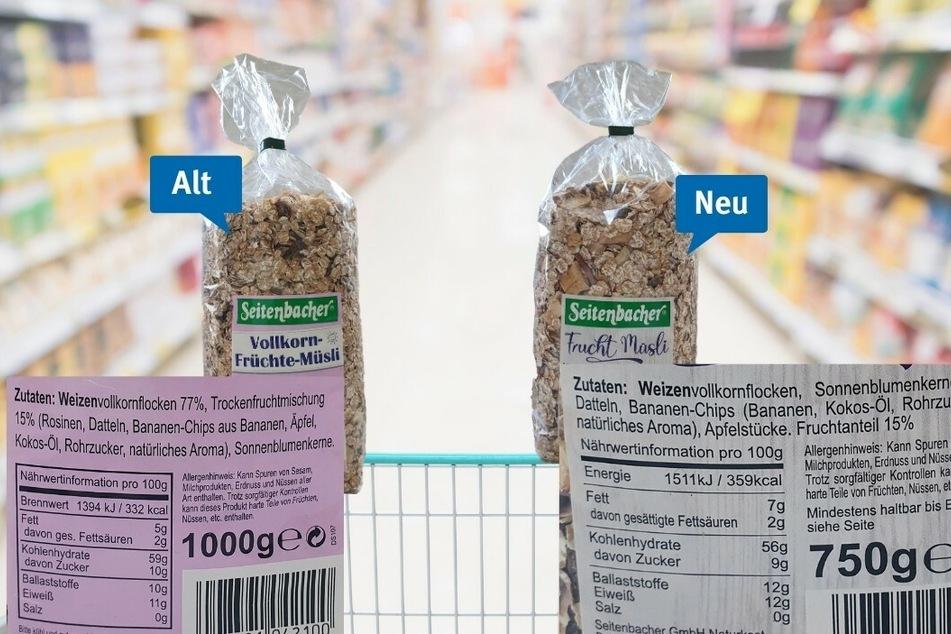 """Das Seitenbacher """"Frücht Müsli"""" kommt mit neuem Etikett und weniger Inhalt daher."""