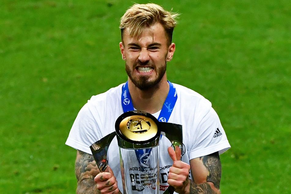 Ausgelassener Jubel bei Niklas Dorsch (23), nachdem sich Deutschlands U21 zum Europameister gekrönt hatte.