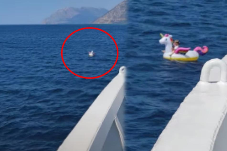 Eltern in Panik: Tochter (4) treibt auf Einhorn plötzlich aufs offene Meer!