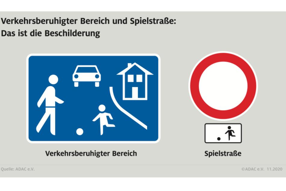 """Die Schilder für den """"Verkehrsberuhigten Bereich"""" und die """"Spielstraße""""."""