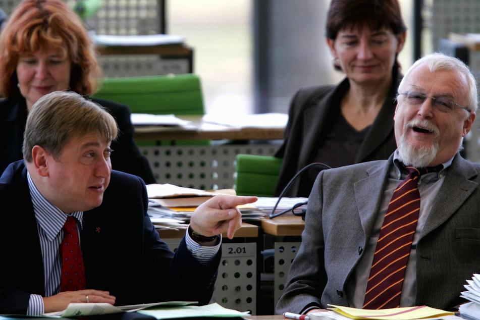 Im Landtag neben André Hahn (heute 57) Ende 2006.