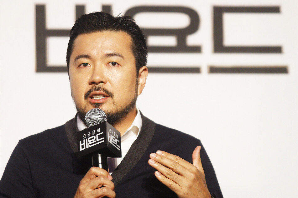 Director Justin Lin speaks at a press conference at the premiere of Star Trek Beyond (2016).
