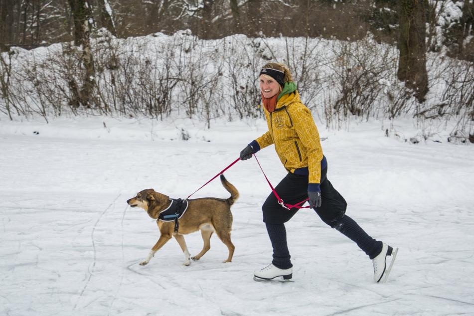 Elisabeth Stiller (30) und ihre Hündin Luna spazierten über den zugefrorenen See.