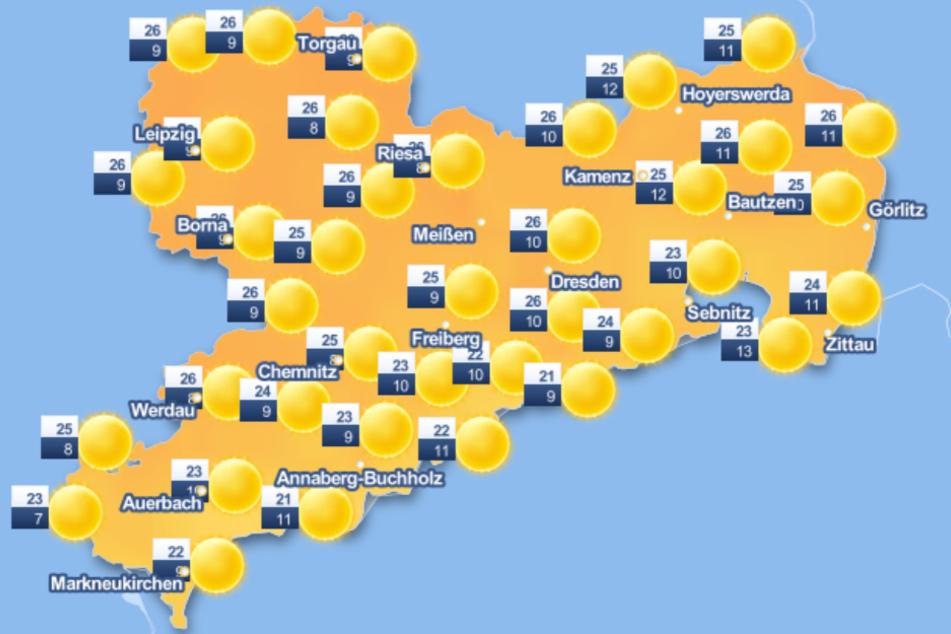 Die Woche beginnt in ganz Sachsen mit strahlendem Sonnenschein.