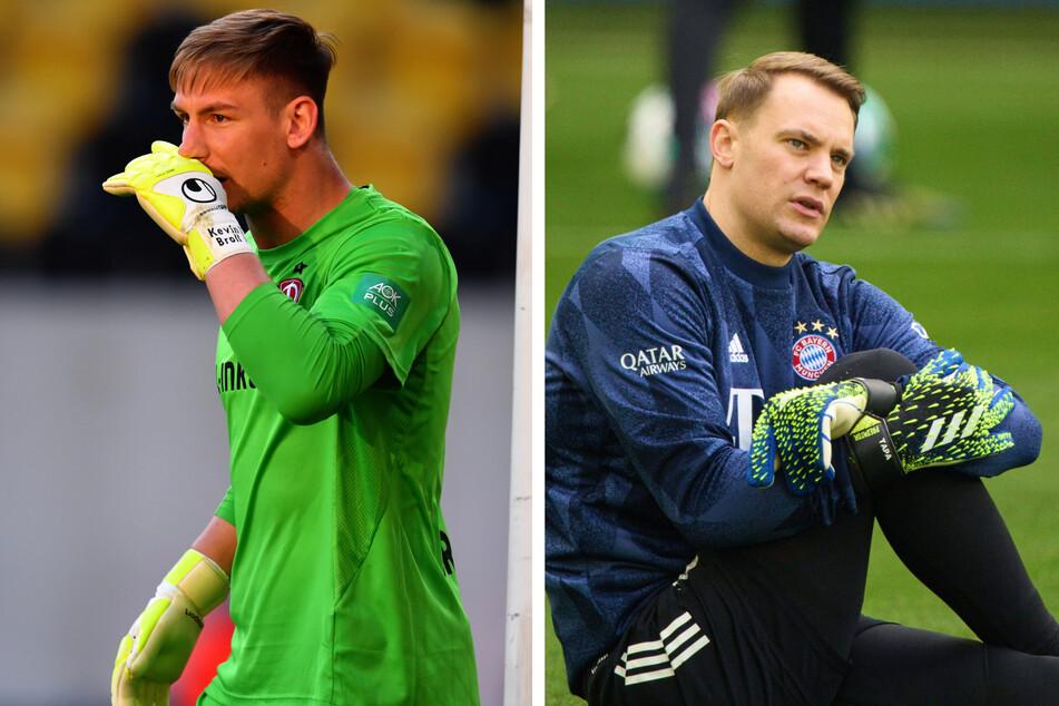 Ehrensache: Dynamo-Keeper Kevin Broll (25, l.) schickte seine Handschuhe. Auch Nationaltorwart Manuel Neuer (35, r.) hinterlässt dem Sebnitzer signierte Handschuhe.