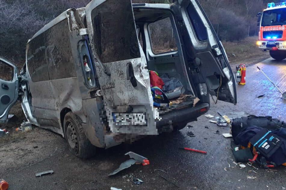 Zwischen Brandenburg und Wollin überschlug sich ein polnischer Transporter gleich mehrfach