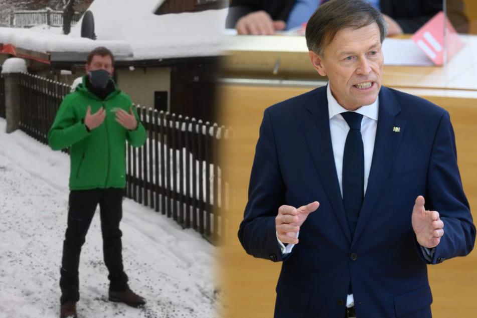 Corona-Leugner bei Sachsens Ministerpräsident: Landtagspräsident verurteilt Protest vor Kretschmers Haus