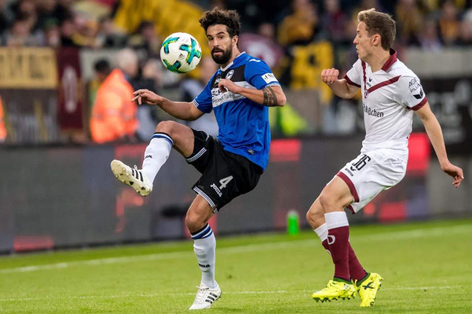 Im Hinspiel gegen Dresden durfte Nils Teixeira 90 Minuten lang auf dem Platz stehen.