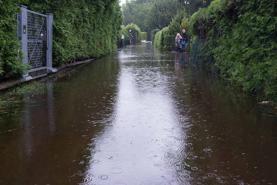 Nach heftigen Regenfällen stand die kleine Siedlung nahe Flughafen Tegel vollständig unter Wasser.