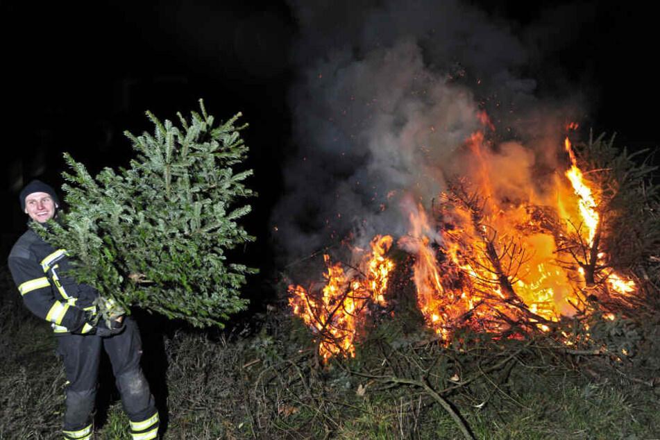 Sebastian Rank (22) von der Freiwilligen Feuerwehr im Chemnitzer Stadtteil Wittgensdorf beim traditionellen Weihnachtsbaum-Verbrennen.