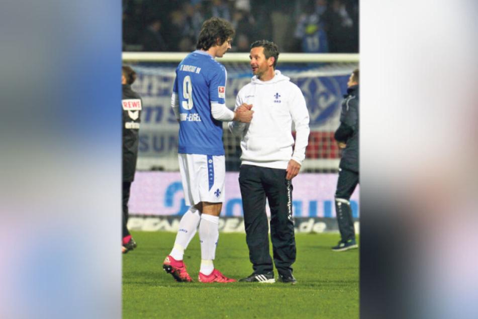 Dominik Stroh-Engel (l.) und Dirk Schuster schrieben in Darmstadt ein Fußballmärchen.