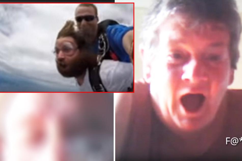 Mann skypt mit seinen Eltern, während er aus Flugzeug springt