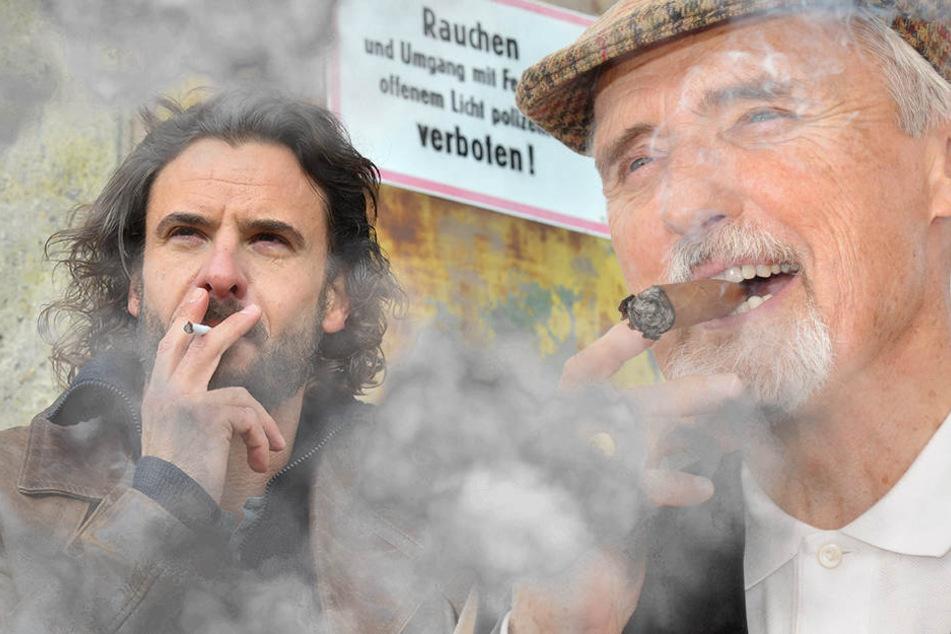 Die Schauspieler Stephan Luca und Dennis Hopper  (r.) rauchen. (Bildmontage)