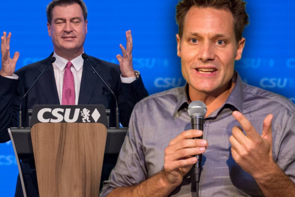 Markus Söder (l.) und Ludwig Hartmann (r.) stehen sich beim TV-Duell gegenüber.