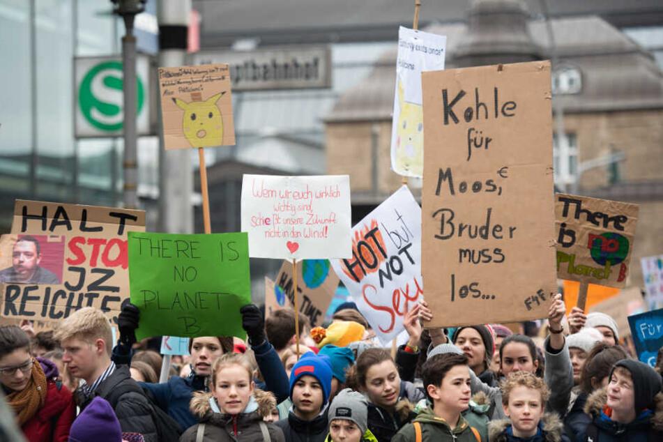 Zahlreiche Schüler halten während einer Kundgebung mit Klimaaktivistin Thunberg in Hamburg Plakate in die Höhe.
