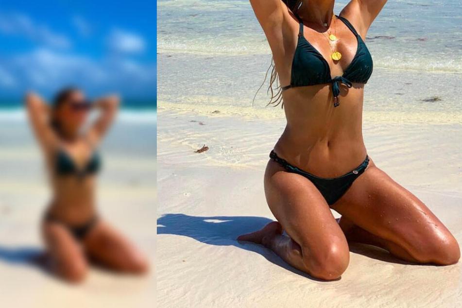 Welche heiße Blondine räkelt sich denn hier so sexy am Strand?