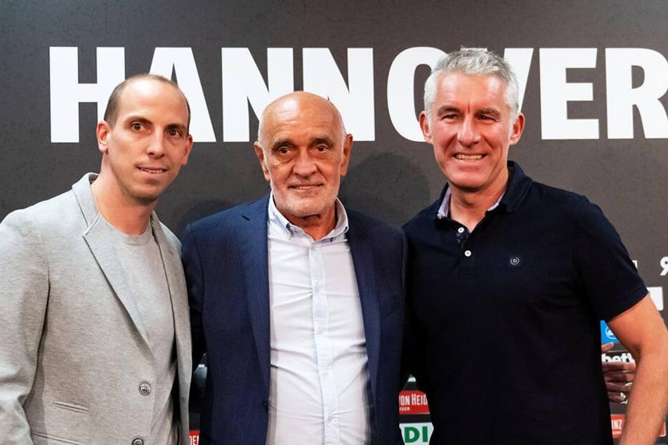 Von links: Der neue 96-Sportdirektor Jan Schlaudraff, Präsident Martin Kind und Trainer Mirko Slomka haben noch viel Arbeit vor der Brust.