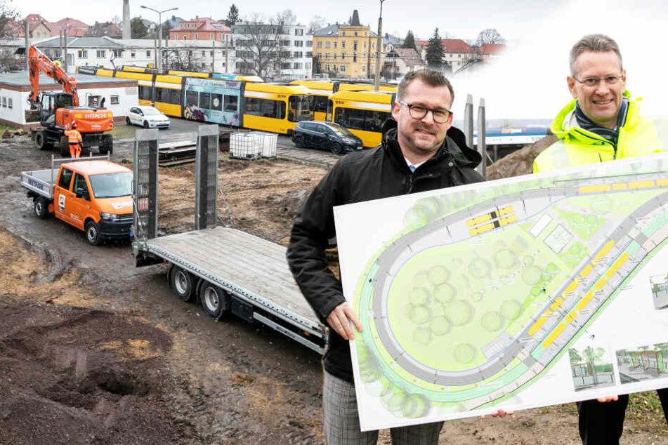 Alles neu in Dresden-Leutewitz: DVB testen bepflanzte Haltestellen
