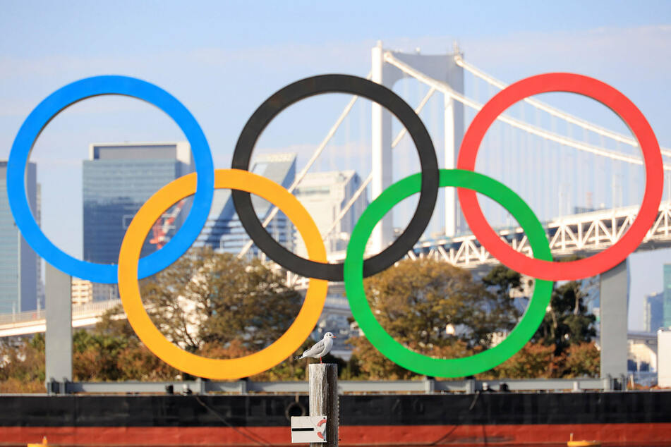 The Olympic rings are on display at Tokyo's Odaiba Marine Park.