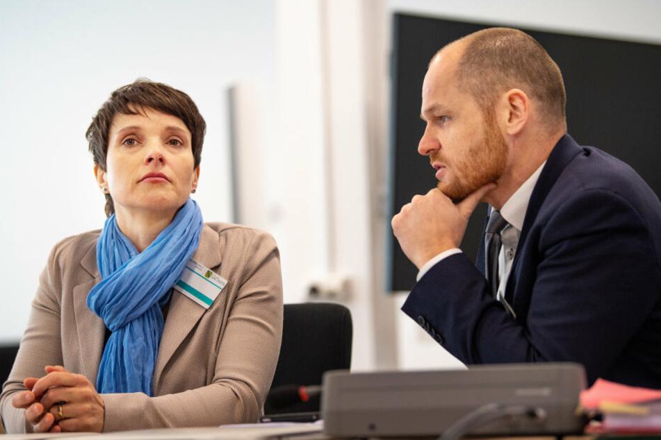 Frauke Petry (l), frühere Bundesvorsitzende der AfD, und ihr Anwalt Carsten Brunzel, sitzen vor Beginn der Verhandlung am 18. Februar im Gerichtssaal.