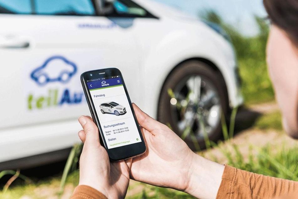 Per App wird schnell ein freies Auto in der Umgebung gesucht und gebucht.