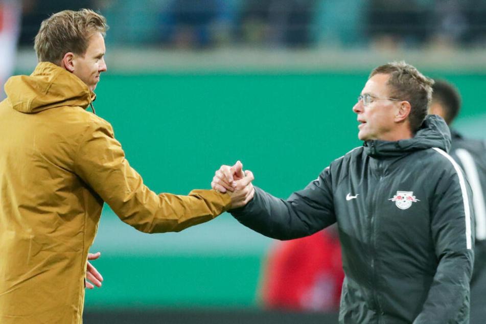Hand in Hand mit seinem zukünftigen Chef Ralf Rangnick bei RB Leipzig: Julian Nagelsmann.