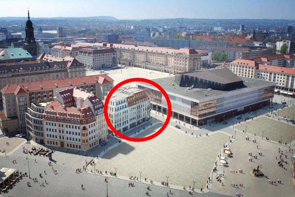 """So soll das künftige """"Moritzhaus"""" (im Kreis) einmal aussehen."""