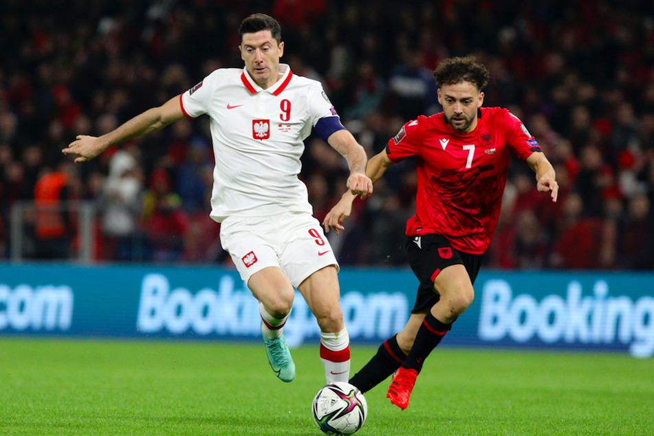 Polens Robert Lewandowski (l.) in Aktion gegen Albaniens Keidi Bare.