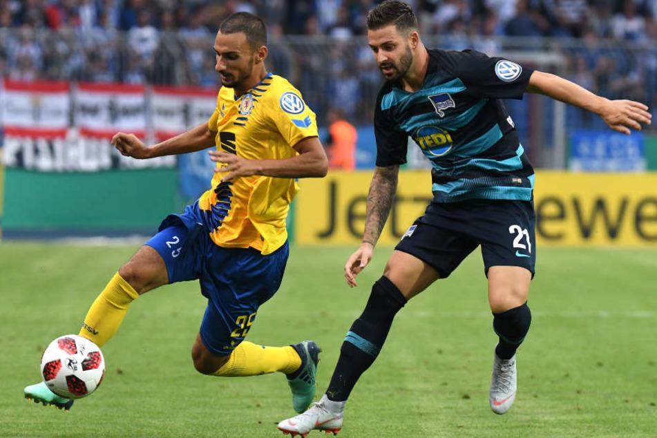 Hertha möchte ins Finale. In der 1. Runde mussten die Berliner in Braunschweig bestehen.