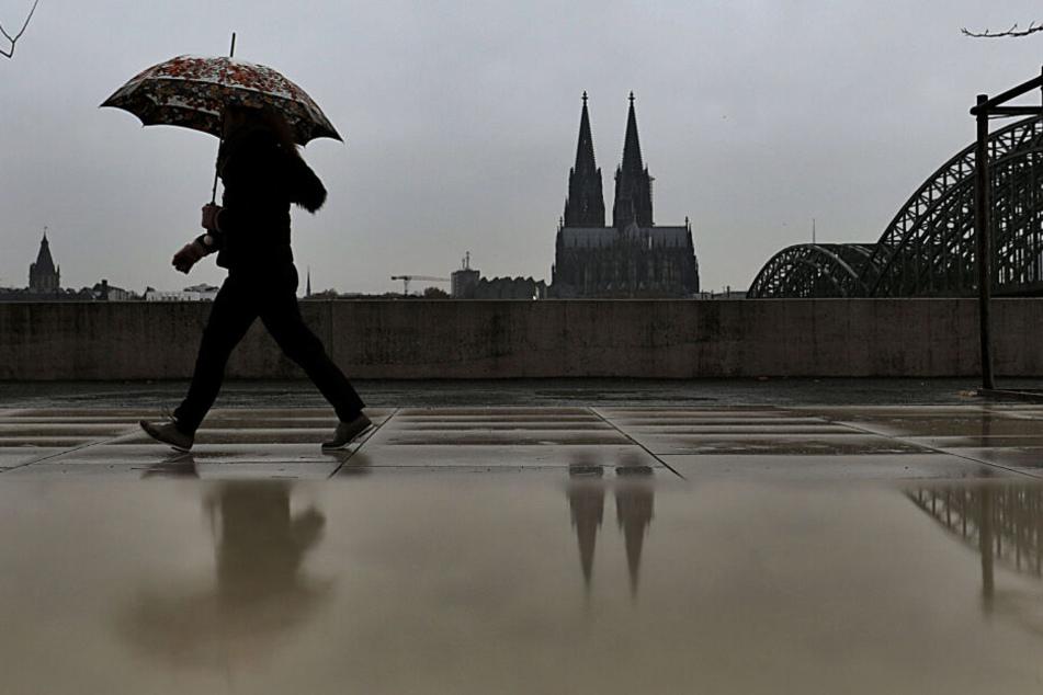 Ein Fußgänger mit Schirm in Köln.