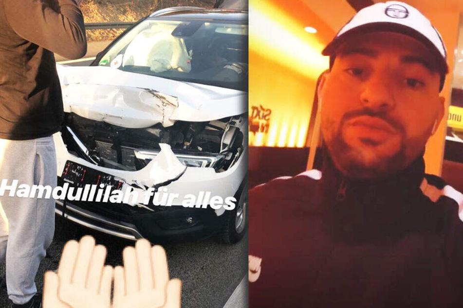 In seiner Instagram-Story postete Miami Yacine das Unfall-Fahrzeug.