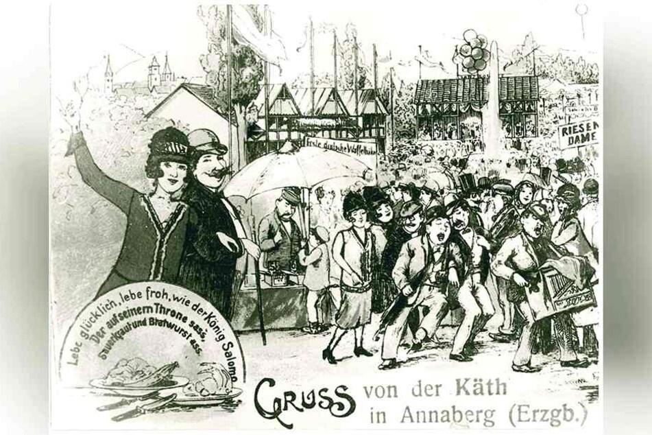 Mit Sauerkraut und Bratwurst: Diese Postkarte zeigt die Kät in den 20er Jahren.