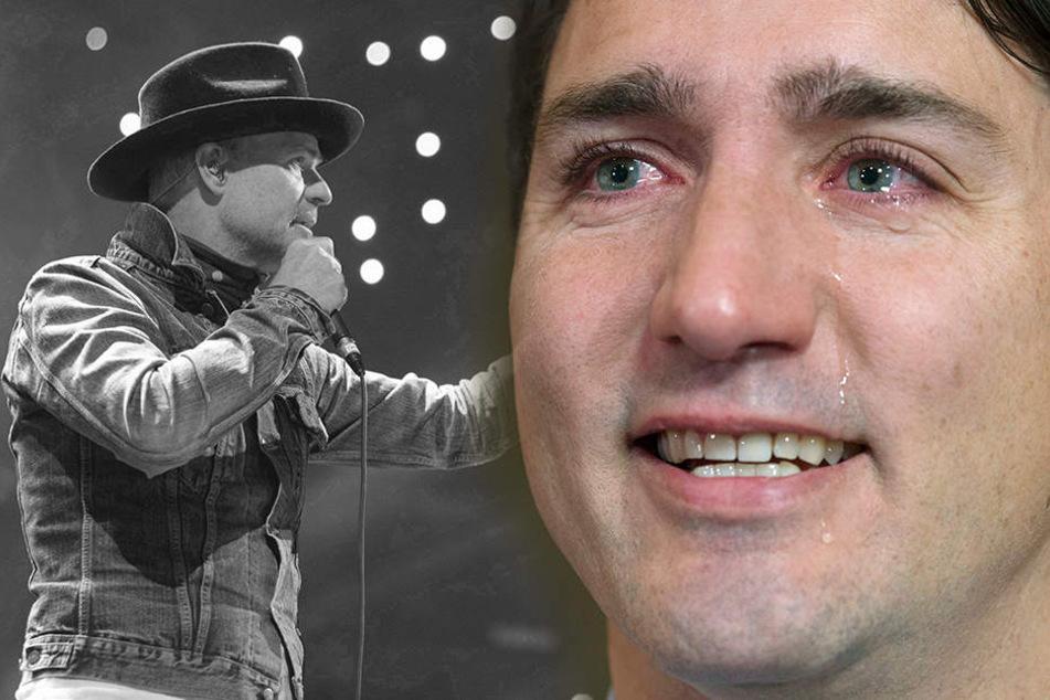 """Gord Downie (li.) war Sänger der extrem beliebten Band """"The Tragically"""" und Freund von Kanada Premierminister Trudeau (re)."""