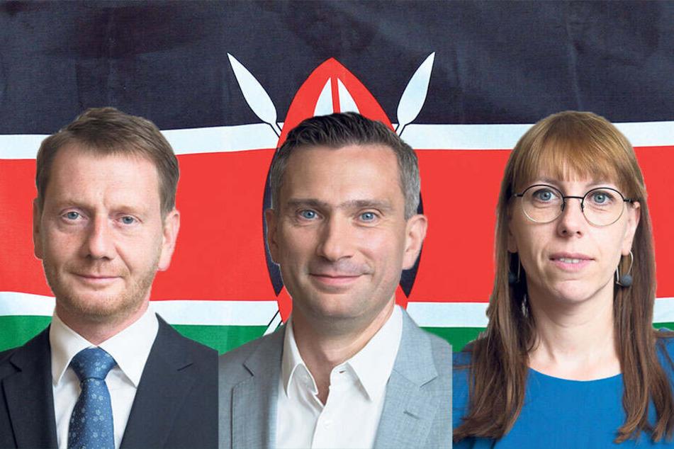 Die Spitzenkandidaten vor der Flagge Kenias: MP Kretschmer (44, CDU), Martin Dulig (45, SPD) und Katja Meier (39, Grüne)