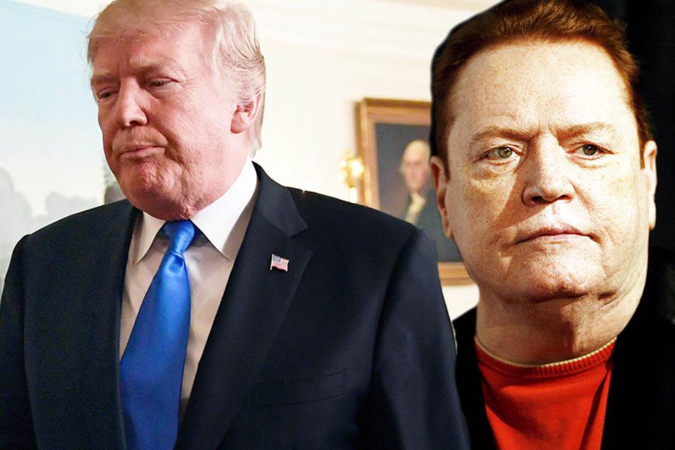Porno-Produzent Larry Flynt (rechts) will für Schmutz über Trump (links) mehrere Millionen Dollar bezahlen.