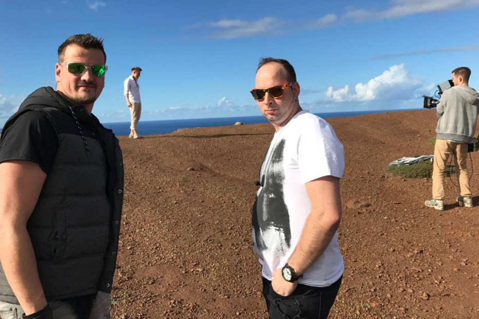 Videodreh auf Madeira: Rico Einenkel (37, l.) und Sebastian Seidel (31) waren  mit Chris Cronauer im Süden für den neuen Hit.