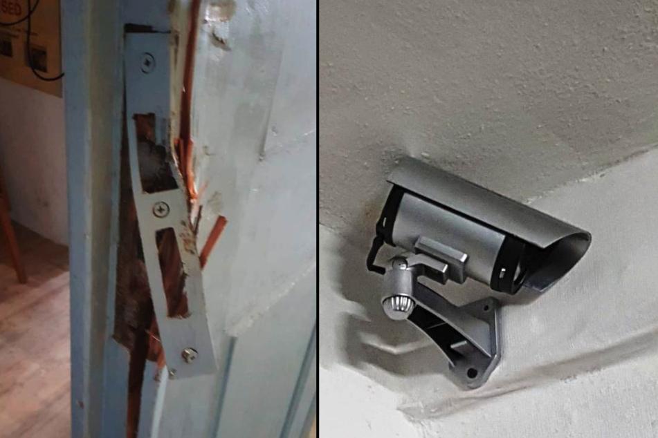 Die Einbrecher machten sich an den Türen zu schaffen, zerstörten diese. Die Überwachungskamera (rechts) konnte den Einbruch ins DDR-Museum nicht verhindern.