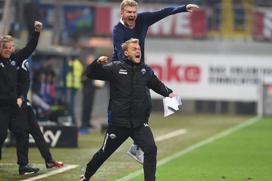 Sören Osterland (vo.) war sechs Monate Co-Trainer von Stefan Effenberg beim SC Paderborn.
