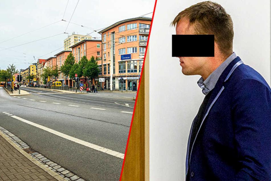 An der Zwinglistraße/ Ecke Rothermundtstraße begann die nächtliche Hatz. Tom B. (28) droht für seine mutmaßliche Amokfahrt sogar Knast.