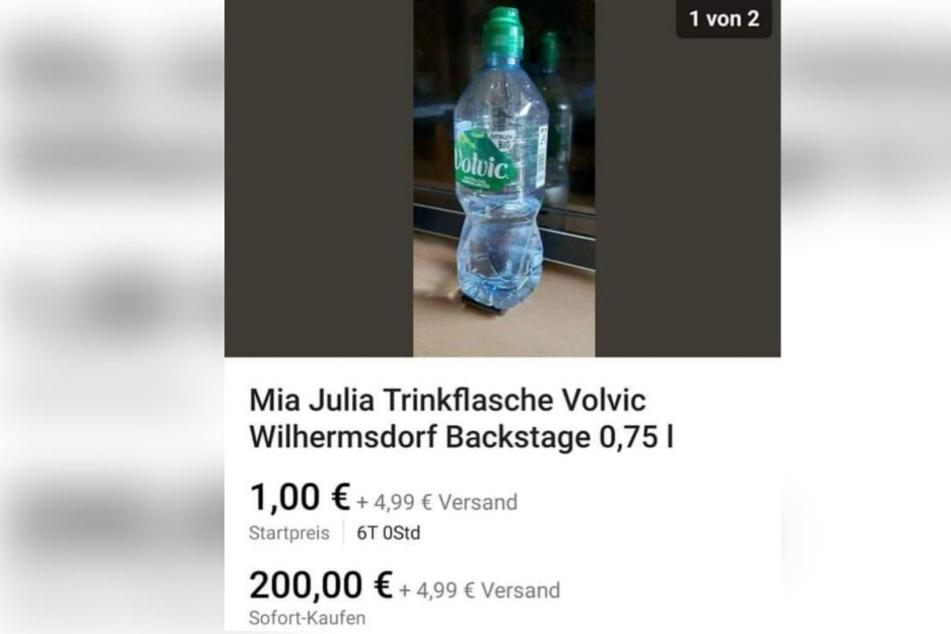 Die angeblich von Mia Julia Brückner gebrauchte Wasserflasche ist für 200 Euro sofort zu haben.